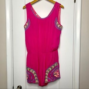 Shoreline hot pink embroidered romper S / M